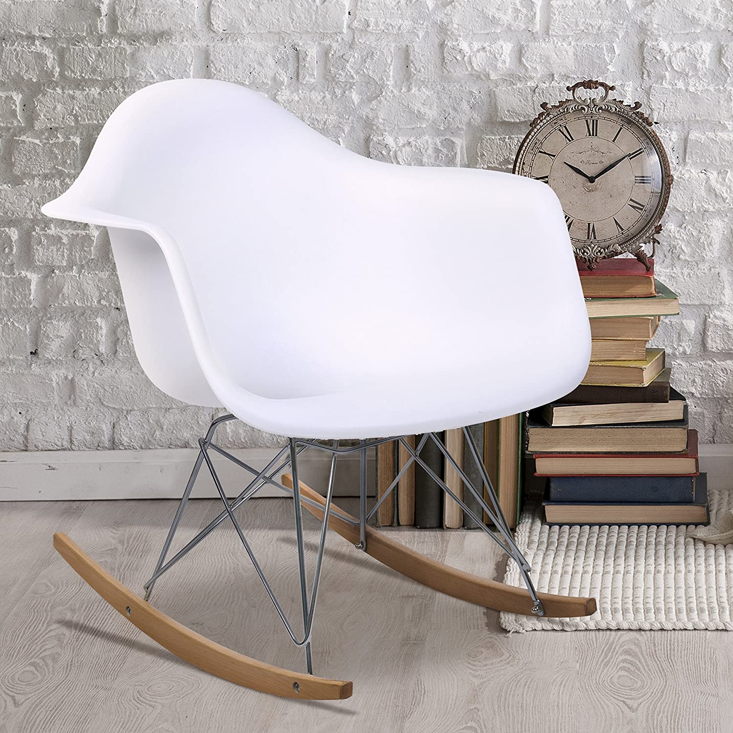 Amazon com  Best Choice Products Eames RAR Style Mid Century Modern Molded  Plastic Rocking Rocker Shell Arm Chair  Home   Kitchen. Amazon com  Best Choice Products Eames RAR Style Mid Century
