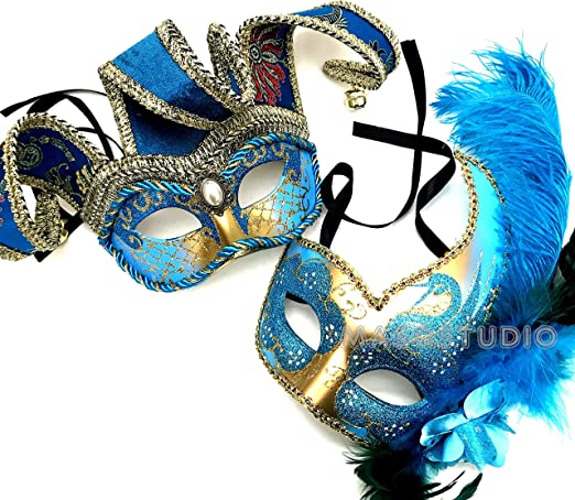 Halloween Masquerade Jester Mask Pair Feather Mardi Gras Dress up Costume Party