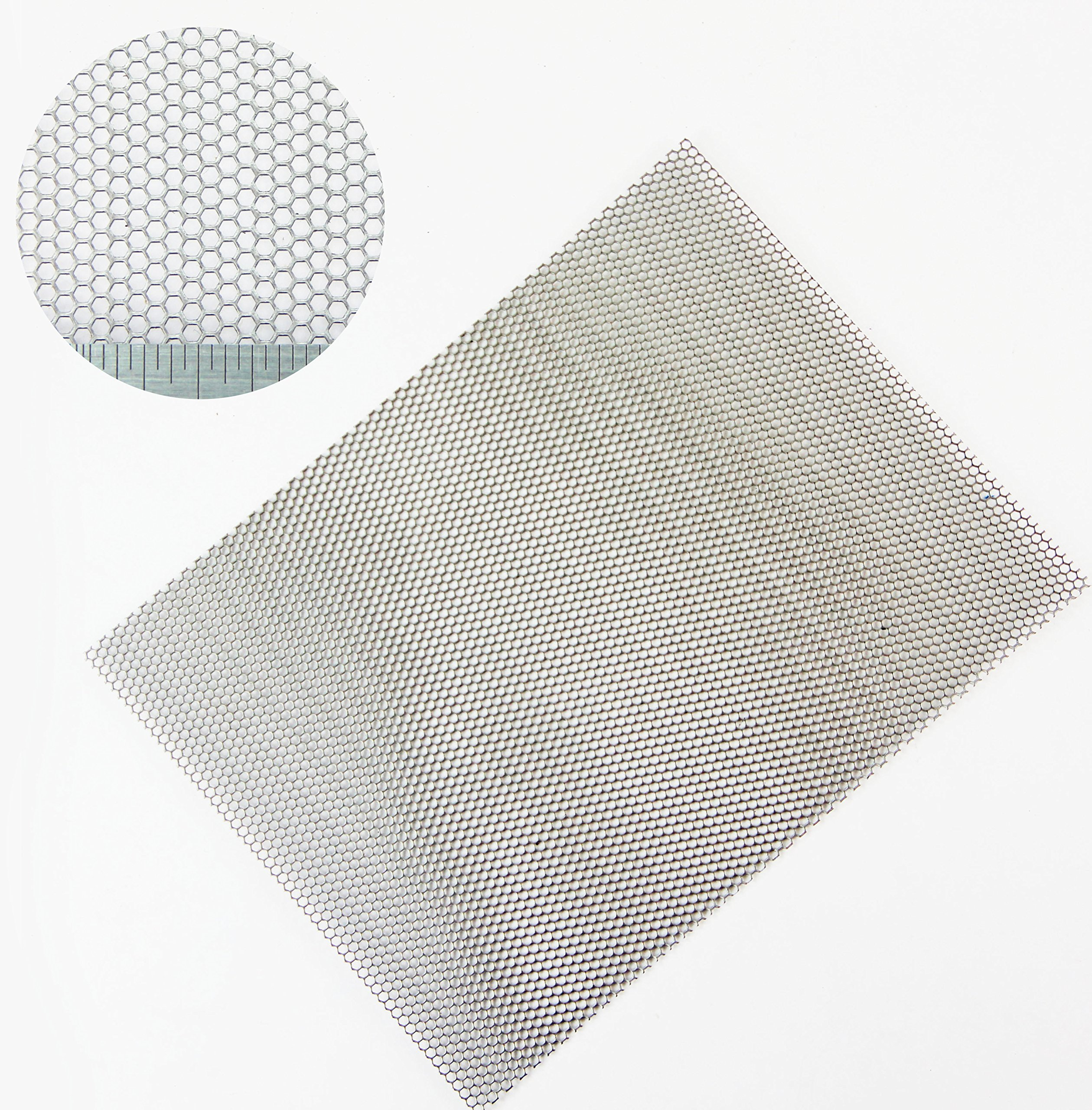 Hexagonal - Mild Steel-Perforated Mesh Sheet-2mm Hole-2.5mm Pitch-1mm Thickness - 1000 x 500mm Sheet by The Mesh Company