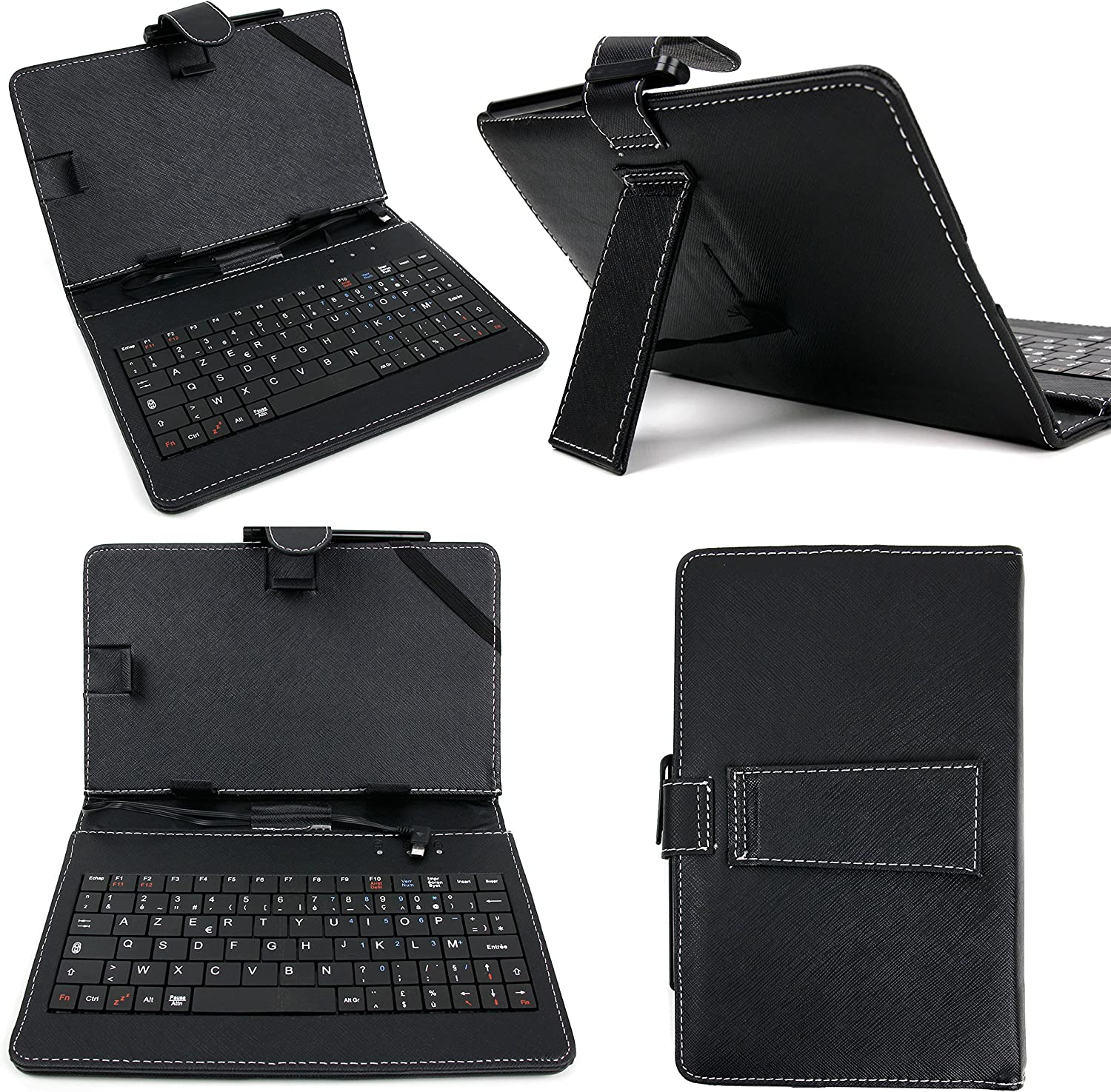 DURAGADGET Black PU Leather AZERTY French Keyboard Case w/Micro USB & Stand Function - Compatible with Acer Iconia Tab A1 | A1-811 | A1-8 | W3 | W3-810 | W4-820 & A100