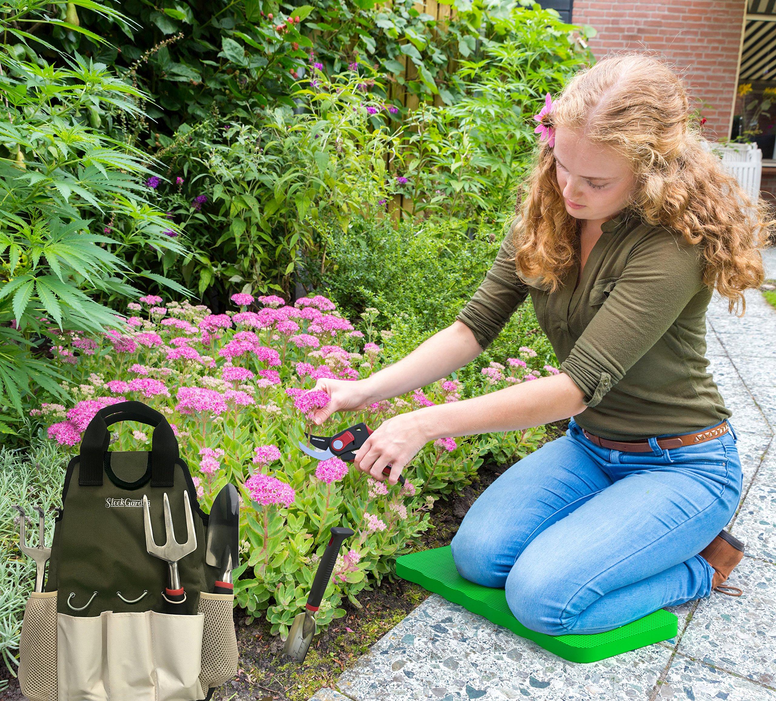 Comfort Plus 7-Piece Gardening Tool Set - Includes EZ-Cut Pruners, Lightweight Aluminum Tools with Soft Rubber Handles and Ergonomic Garden Tote and High Density Comfort Knee Pads by Sleek Garden (Image #2)