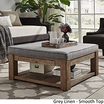 INSPIRE Q Lennon Pine Square Storage Ottoman Coffee Table By Artisan Grey