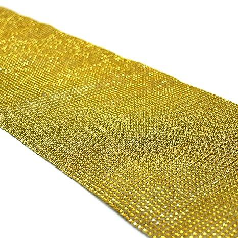Koyal Wholesale Diamond Rhinestone Table Runner, 10 By 180 Inch, Gold