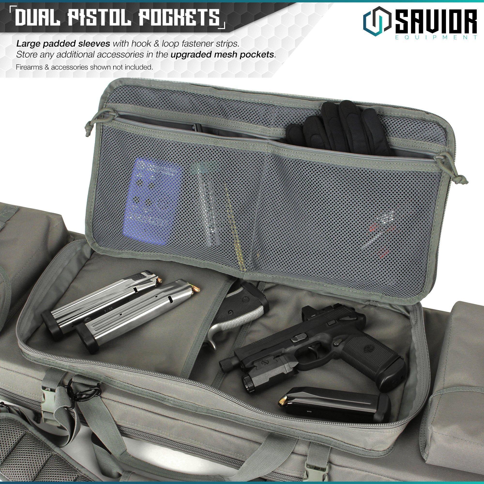 Savior Equipment Urban Warfare Tactical Double Carbine Long Rifle Bag Gun Case Firearm Backpack w/Pistol Handgun Case - 42 Inch Ash Gray by Savior Equipment (Image #4)