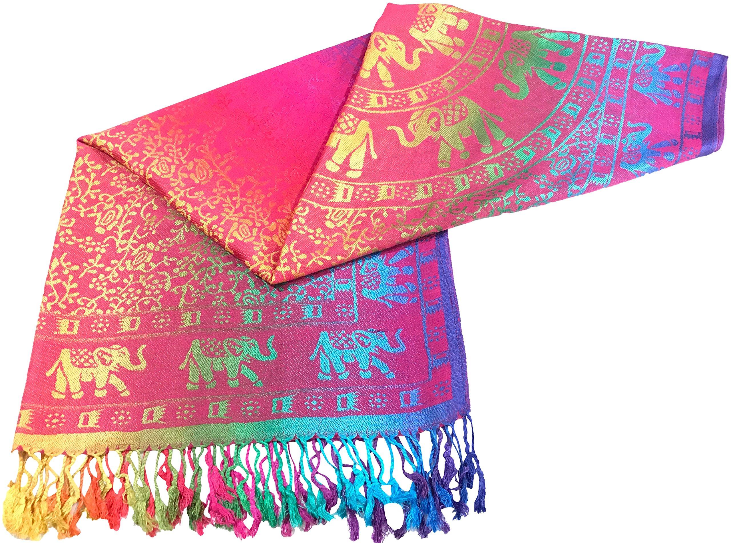 CJ Apparel Pink Elephant Design Shawl Scarf Wrap Stole Pashmina Seconds NEW