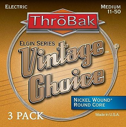 throbak Vintage Elección níquel Wound Cuerdas para guitarra eléctrica, redondo Core, Medium .011