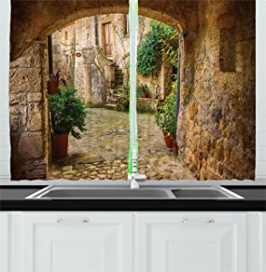 Ambesonne Scenery Kitchen Curtains, Landscape from Another Door Antique Style Stone Village Tuscany Italian Valley, Window Drapes 2 Panel Set for Kitchen Cafe Decor, 55
