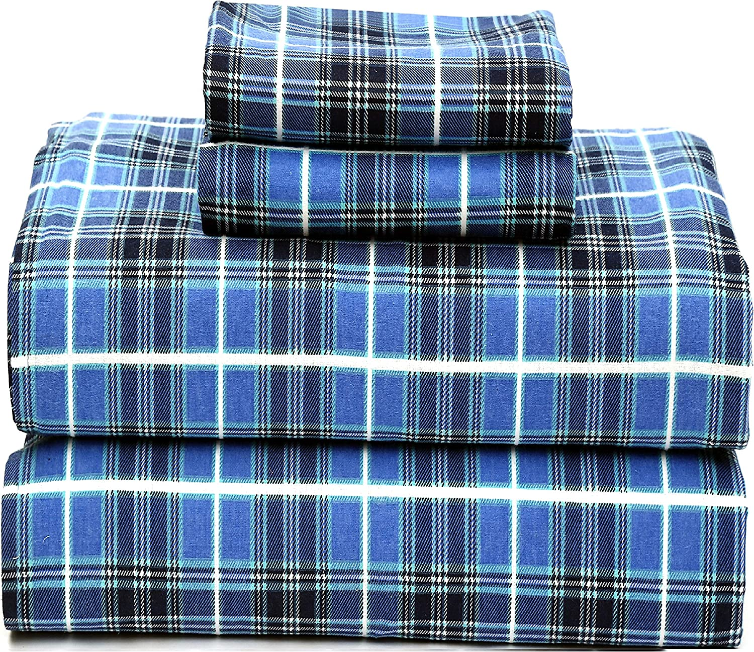 Amazon Com Ruvanti 100 Cotton 4 Pcs Flannel Sheets King Deep Pocket Warm Super Soft Breathable King Size Flannel Sheets Buffalo Plaid King Size Bed Sheet Set Include Flat Sheet Fitted Sheet 2 Pillow Cases