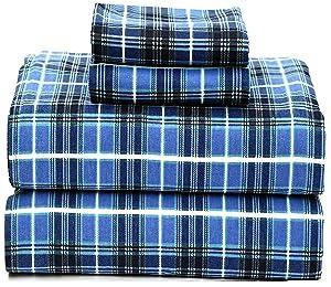 Ruvanti 100% Cotton 4 Piece Flannel Sheets Queen - Deep Pocket - Warm - Super Soft - Breathable Flannel Bed Sheet Set Queen Include Flat Sheet, Fitted Sheet & 2 Pillowcases (Queen, Blue Plaid)