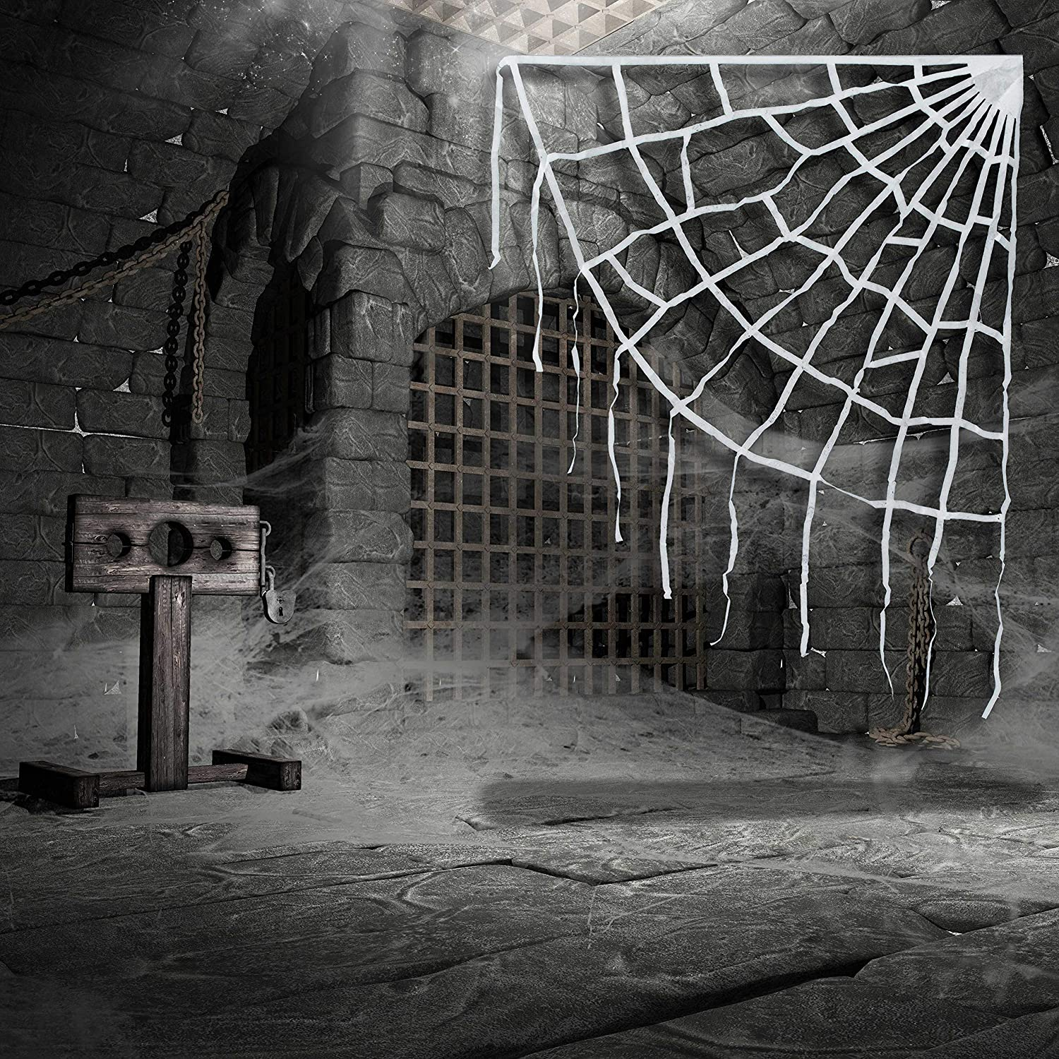 Yard Haunted House Graveyard Entryway Party Display Halloween Haunters 7 Foot Realistic Scary White Corner Spider Web Prop Decoration Spooky Realistic Hanging Edge Creepy Crawly Oversized Cobweb