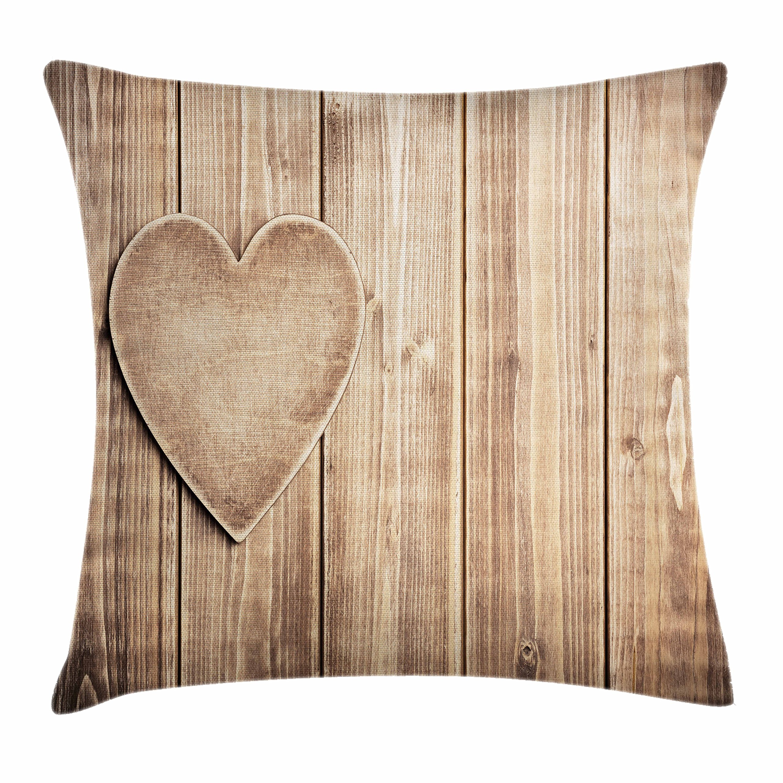 Ambesonne Valentines Day Throw Pillow Cushion Cover, Rustic Heart Over Wooden Planks Background Lovers Corner Romantic Celebration Print, Decorative Square Accent Pillow Case, 18 X 18 Inches, Tan