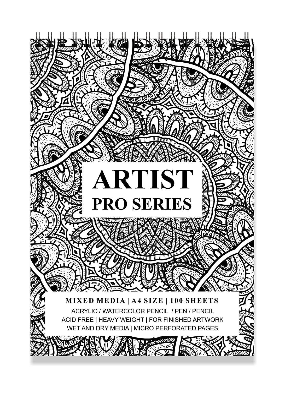 Printelligent Black White Design Spiral Bound Artists Sketch Drawing Book A4 Size 100 Pages 160 Gsm Amazon In Home Kitchen