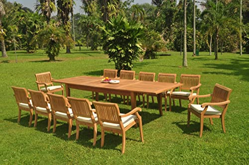 WholesaleTeak 12 Seats 13 Pcs Grade-A Teak Wood Dining Set: 122″ Atnas Double Extension Rectangle Table and 12 Arbor Stacking Arm Chairs WHDSAB81