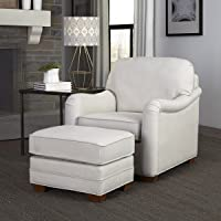 Deals on Heather Off White Stationary Chair and Ottoman by Home Styles