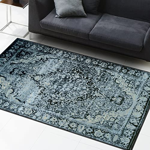 Superior Stirling Collection Area Rug, 10mm Pile Height with Jute Backing, Fashionable and Affordable Rugs, Vintage Distressed Oriental Rug Design – 4 x 6