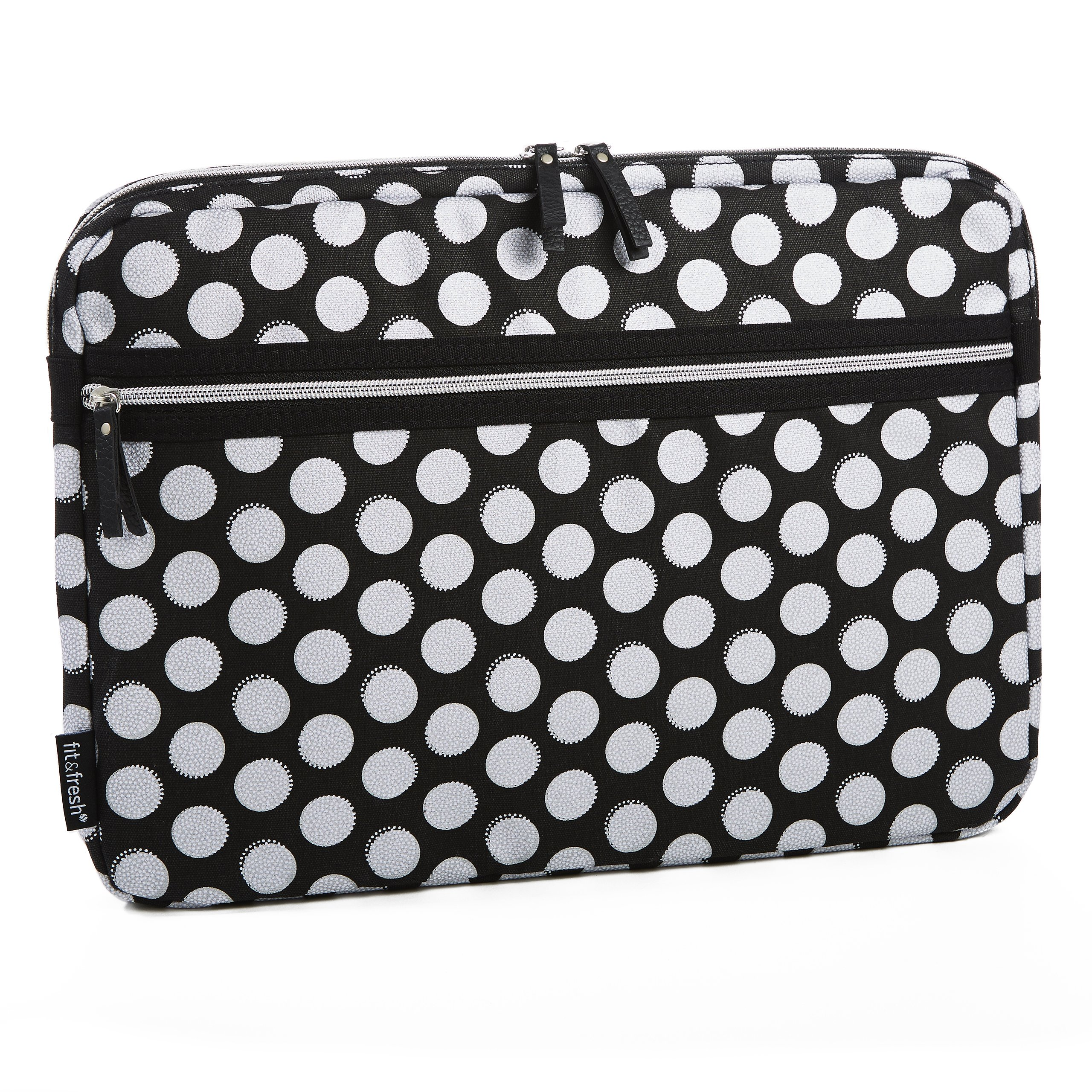 Fit & Fresh Protective Laptop Sleeve with Zippered Storage Pocket, Laptop Bag fits Apple/Microsoft/Acer/Samsung/Google/Lenovo with up to 15.6'' Displays, Black Double Dot