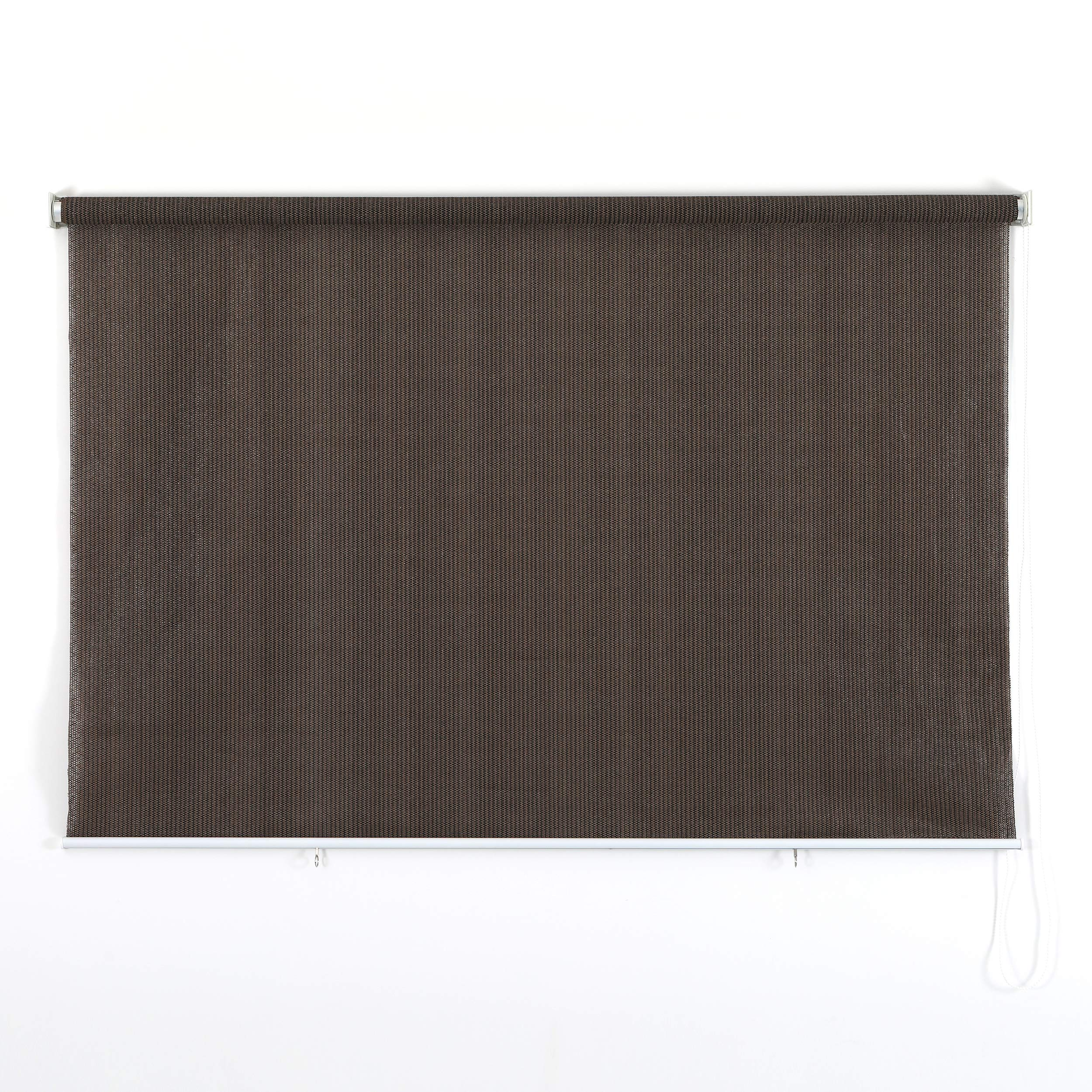 PHI VILLA Outdoor Patio Sun Shade Roller Shade 8ft by 8ft Coffee