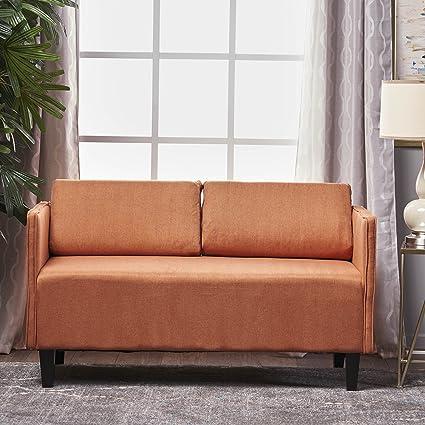 Sophie Living Room Office Fabric Loveseat (Orange)