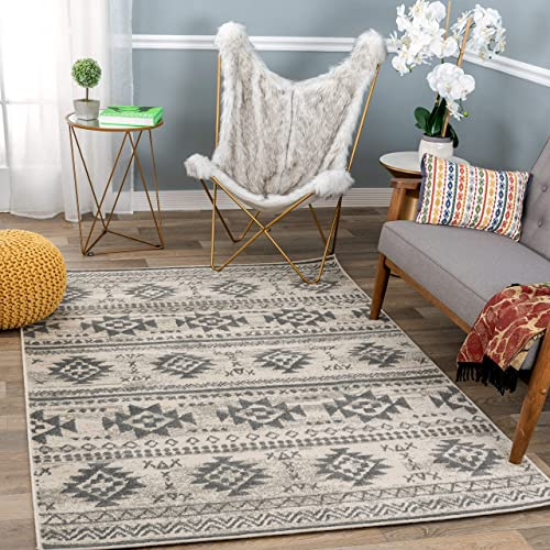 Rugshop Newbury Collection Bohemian Tribal Area Rug 7'10″ x 10' Cream