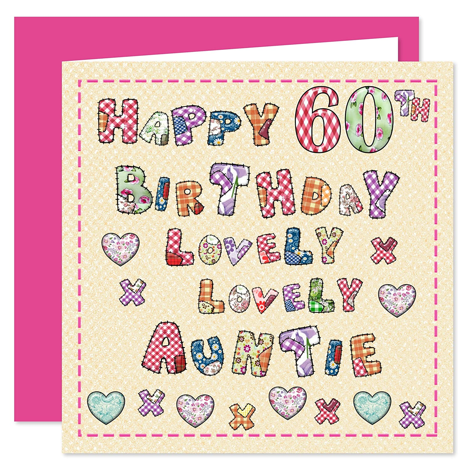 White cotton cards wba60p a pink champagne auntie 60 happy auntie 60th happy birthday card lovely lovely auntie 60 today kristyandbryce Choice Image