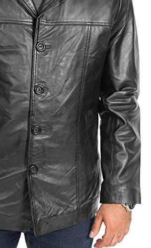 Amazon.com: A1 FASHION GOODS Mens Fitted Blazer Leather Jacket Harris Black Classic Reefer Box Coat: Clothing