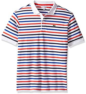 c286f969f Amazon.com  Lacoste Boys  Big Boys  Short Sleeve Multi-Stripe Mini Pique  Polo