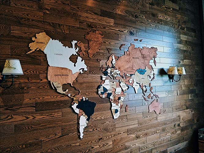 Amazon Com Home Decor Wood World Map Wall Decor Large Travel Wall
