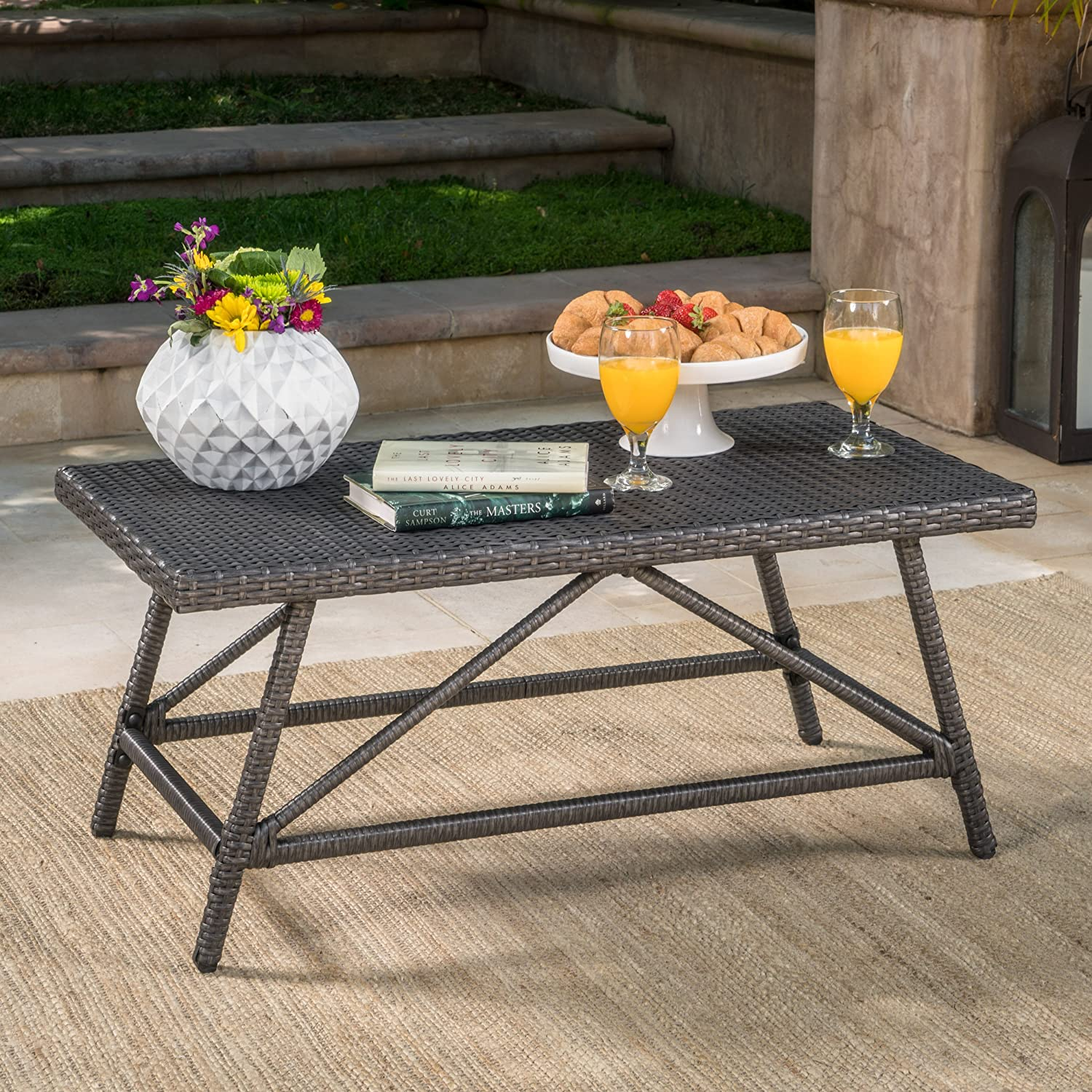 Christopher Knight Home 301837 Hazel Outdoor Grey Wicker Coffee Table, Red-4580