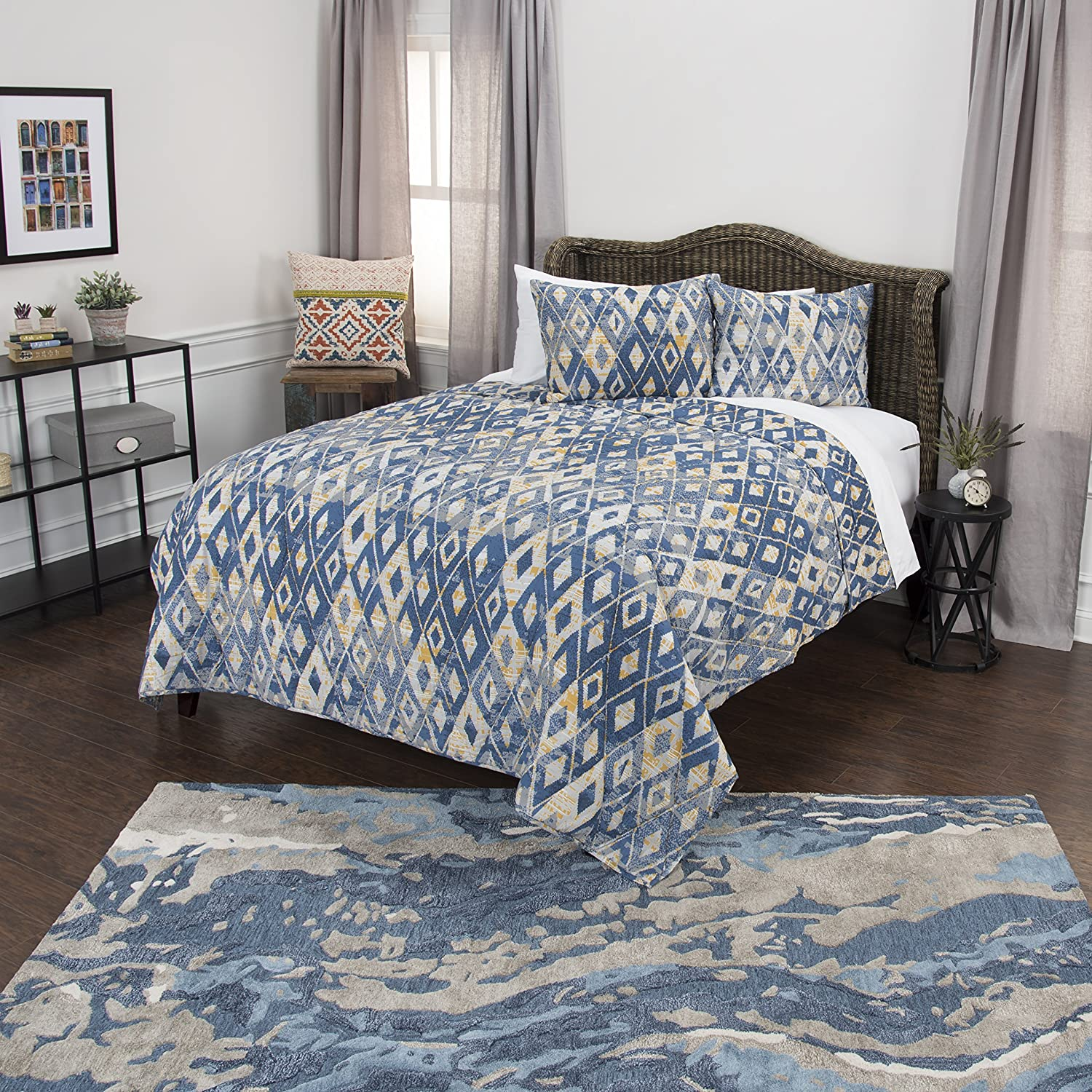 Rizzy Home Maddux Place Asher Geometric 2 Piece Quilt Set, Twin X-Large, Blue
