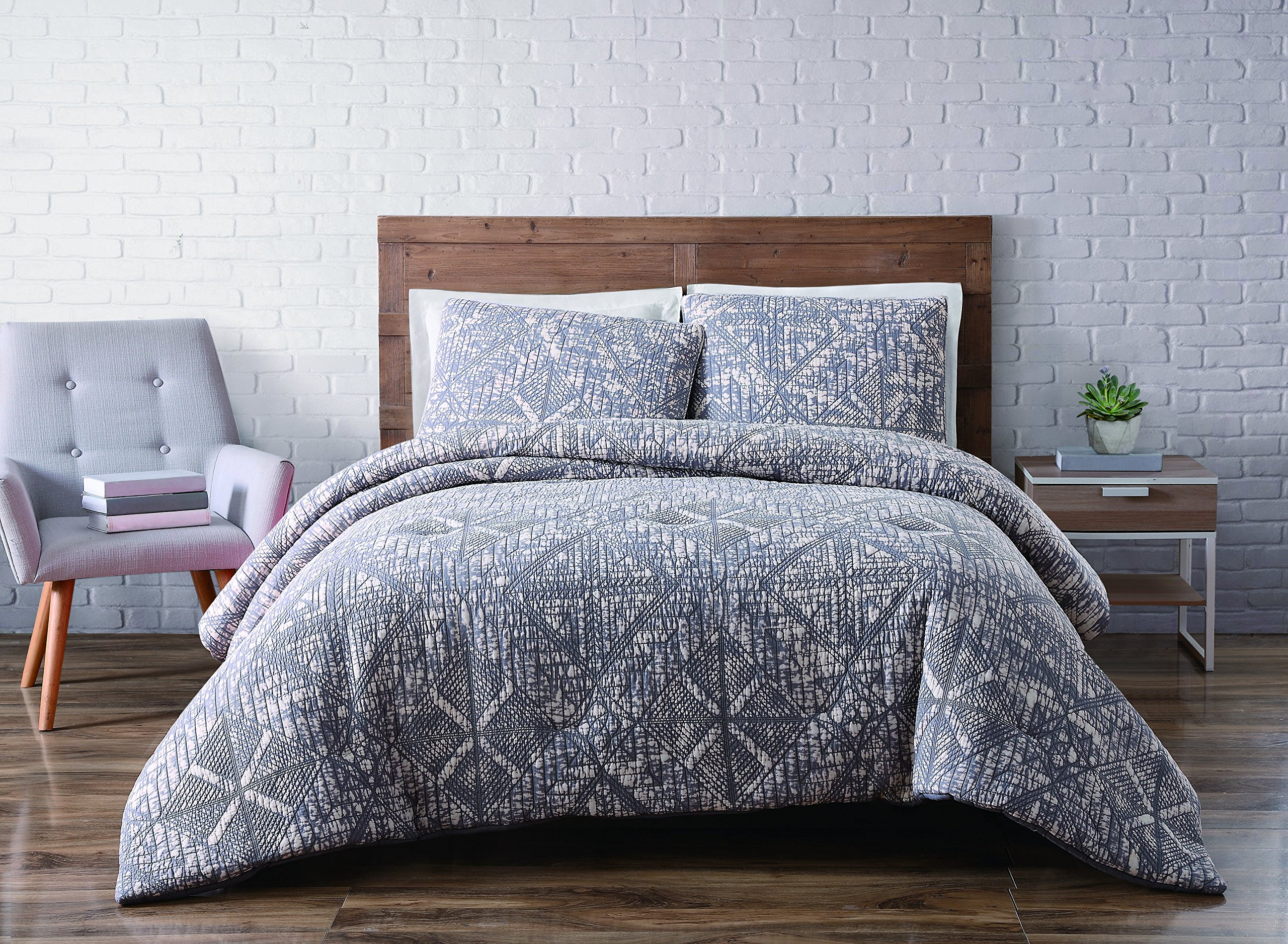 Brooklyn Loom 4 Piece Sand Washed Cotton Duvet Set, King, Gray