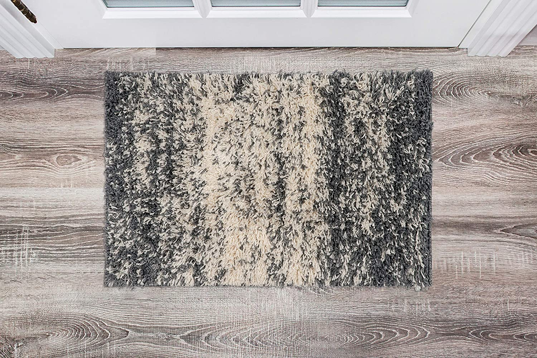 Rugshop Bondi Collection Distressed Ombre Contemporary Shag Area Rug 2' x 3' Dark Gray