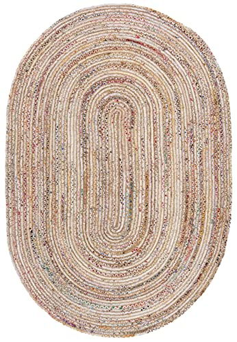 Safavieh Cape Cod Collection CAP202B Handmade Beige and Multicolored Jute Area Rug 4 x 6