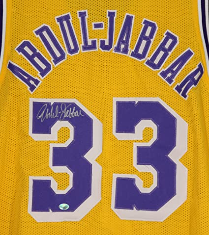 d922c2838 Image Unavailable. Image not available for. Color  Kareem Abdul Jabbar Los  Angeles Lakers Signed Autographed Yellow  33 ...