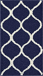 product image for Maples Rugs Rebecca Contemporary Kitchen Rugs Non Skid Accent Area Carpet [Made in USA], 1'8 x 2'10, Navy Blue/White