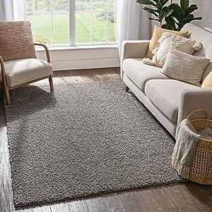 Solid Retro Modern Light Grey Shag 3x5 ( 3'3'' x 5'3'' ) Area Rug Plain Plush Easy Care Thick Soft Plush Living Room Kids Bedroom
