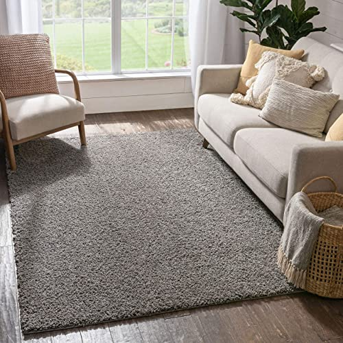 Well Woven Madison Shag Plain Grey Modern Solid Area Rug 6'7'' X 9'10''