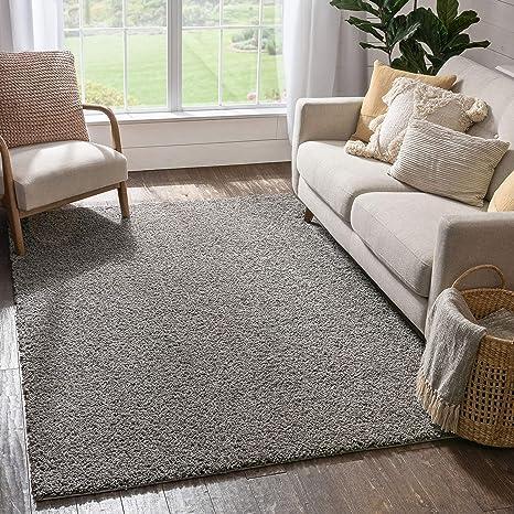 Amazon Com Solid Retro Modern Light Grey Shag 3x5 3 3 X 5 3 Area Rug Plain Plush Easy Care Thick Soft Plush Living Room Kids Bedroom Home Kitchen