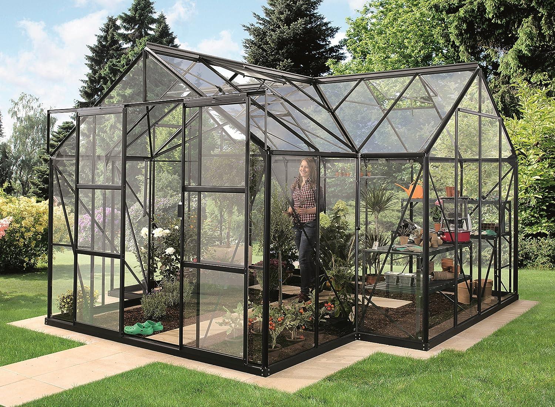 Gartenwelt Riegelsberger Sirius Orangerie - Invernadero (3 mm de grosor, 13 m², con 4 ventanas de techo, incluye base de acero de 6 cm de alto, base: 3, 81 x 3, 81 m), color negro: Amazon.es: Jardín