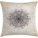 Ambesonne Mandala Decor Throw Pillow Cushion Cover by, Dynamic Curving Soft Lines Fashioned Old Mandala Pattern Growth Symbol Image, Decorative Square Accent Pillow Case, 18 X 18 Inches, Sepia Brown
