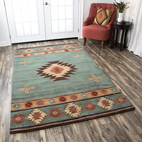 Rizzy Home Collection Wool Area Rug, 5 x 8 , Gray Blue Rust Burgundy Tan Khaki Southwest Tribal