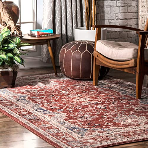 nuLOOM Evelyn Persian Distressed Area Rug 8 x 10 Red