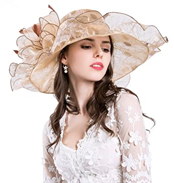 ROYOU YIUOER Derby Hats for Womens Vacation Organza Fascinator British Tea  Party Wedding Dress Cap Mysterious fd2d3bf85eb