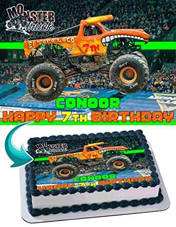 El Toro Loco Monster Truck Edible Cake Topper Personalized Birthday