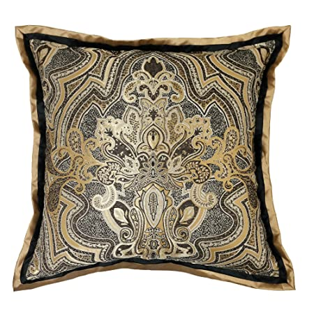 Veratex Maison Del Rey Collection Contemporary Style Luxurious Patterned Polyester Bedroom Euro Sham Pillow, Black and Gold