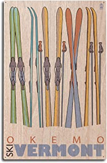 product image for Lantern Press Okemo, Vermont - Skis in Snow (10x15 Wood Wall Sign, Wall Decor Ready to Hang)