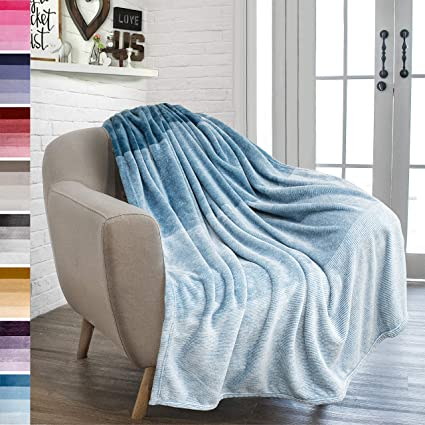 Astonishing Pavilia Flannel Fleece Ombre Throw Blanket For Couch Super Soft Cozy Microfiber Couch Blanket Gradient Decorative Accent Throw All Season 50X60 Machost Co Dining Chair Design Ideas Machostcouk
