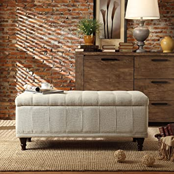 Metro Shop TRIBECCA HOME Tufted Storage Bench St Ives Lift Top Fabric  Storage Bench