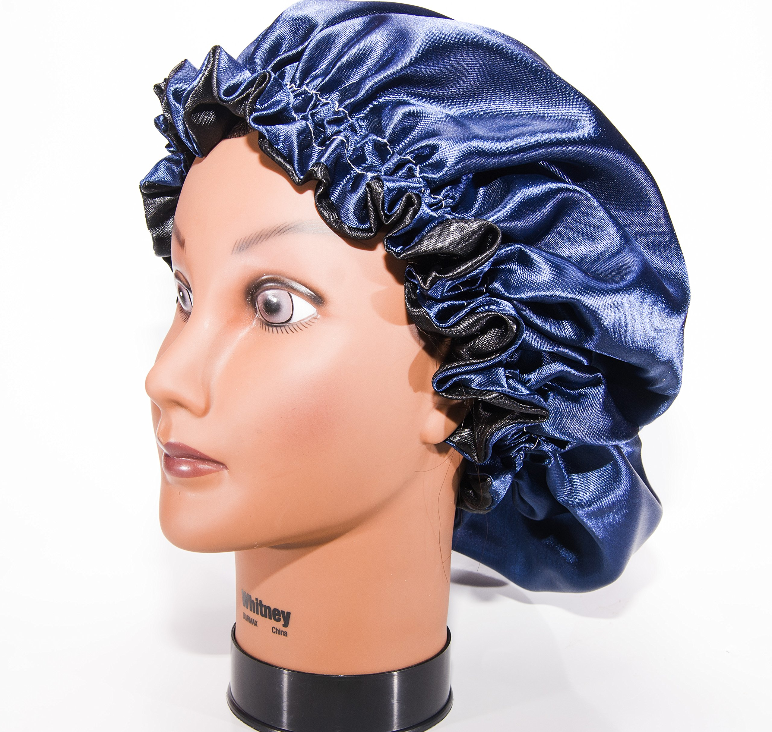 Large, NAVY BLUE 22'' Reversible Luxuries Pure Satin Hair Bonnet for Women, Men, Kids & Teens Used for Dry, Damaged, Colored Safe For All Hair Types - Anti Aging Hair Care