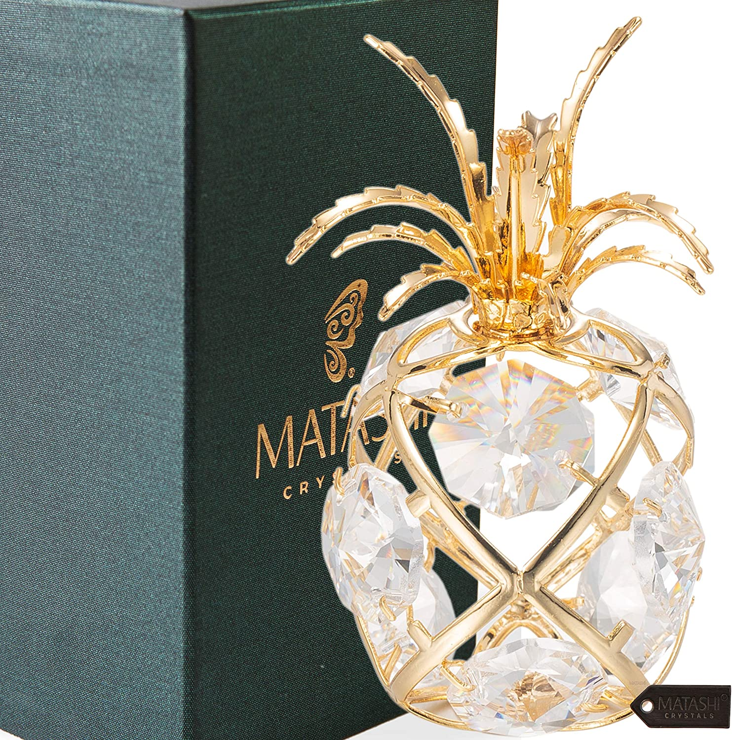 Matashi 24K Gold Plated Mini Pineapple Ornament with Clear Crystals