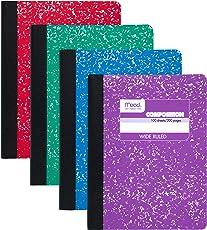 Aguamiel cuaderno de Composición Pack de 12:100 hojas, rayas anchas, colores variados (09918)